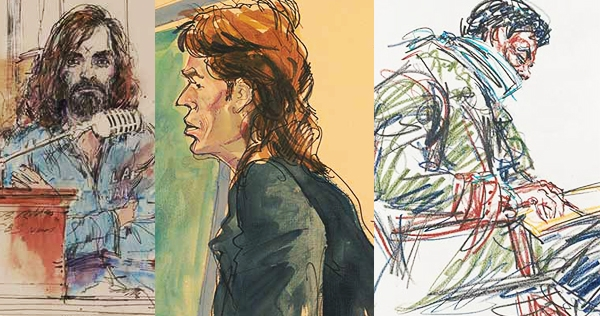 Manson, Larry Flynt, Abbie Hoffman, O.J. and other infamous folks depicted by court sketch artists