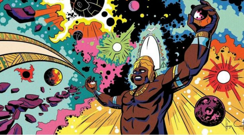 African gods and goddesses drawn as ass-kicking Jack Kirby-style superheroes