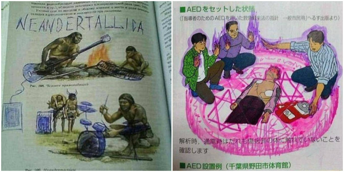 LOL doodles found in high school textbooks from around the world will help the healing…