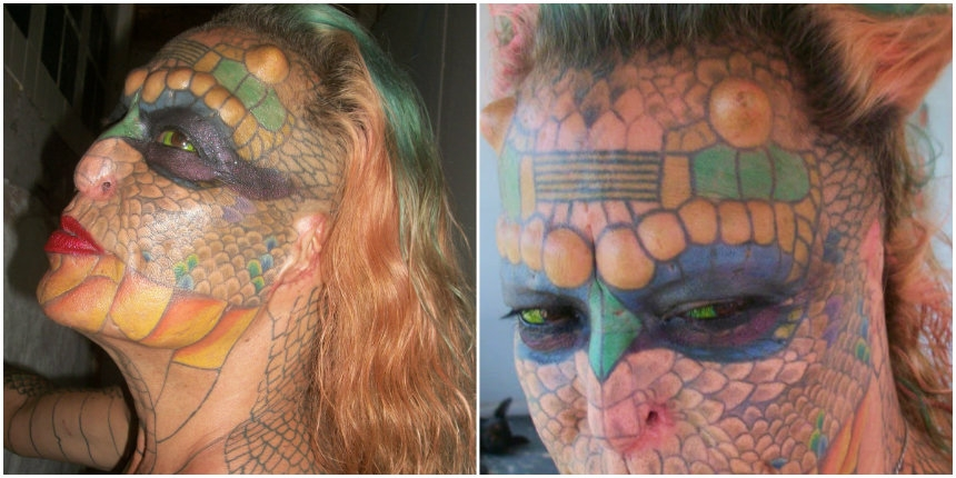Woman removes nose and ears to transform herself into a 'dragon lady'