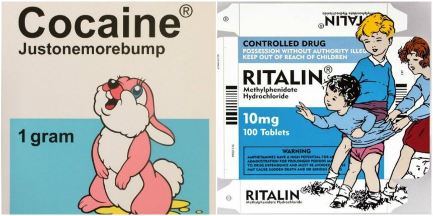 Porny, provocative pop-art mashed up with pharmaceutical packages