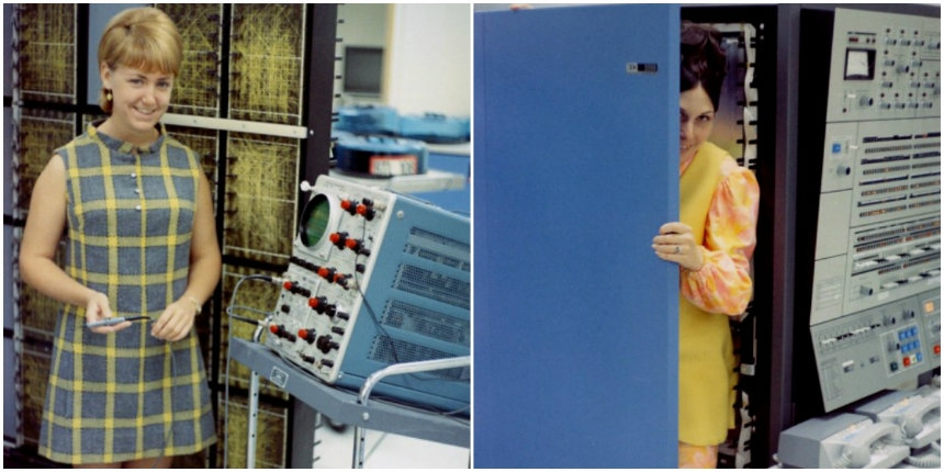 Photos of women and giant-ass mainframe computers from the 1960s
