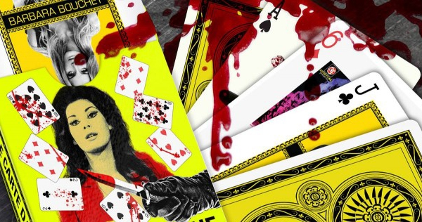 Exquisite bloodstained Italian giallo-themed playing cards