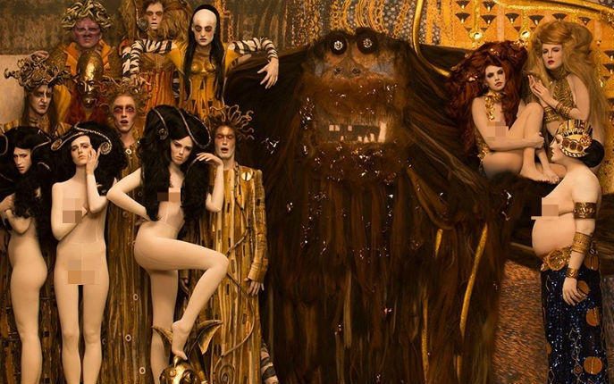 Gustav Klimt's iconic paintings come to life using models and props