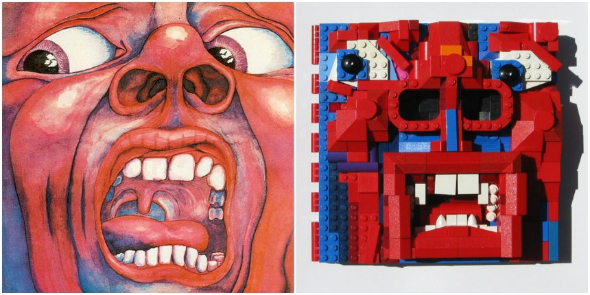 King Crimson 'In the Court of the Crimson King' album cover reimagined in LEGO bricks
