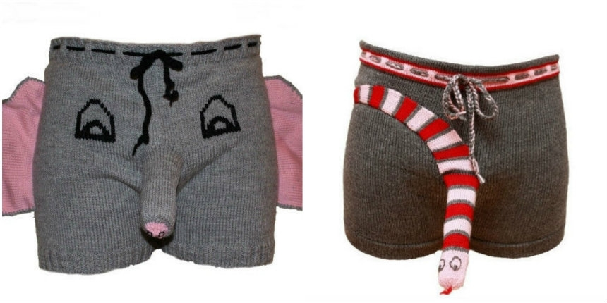 'Sexy' knitted elephant and snake underwear. For men.