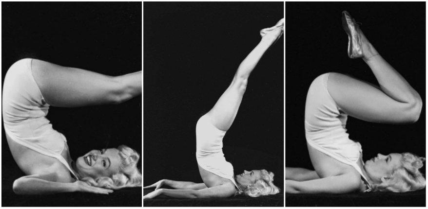 Photographs of Marilyn Monroe doing yoga