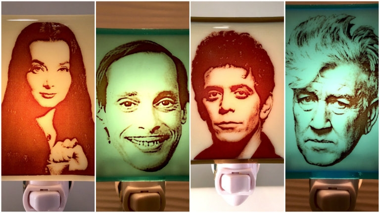 Glass night lights of David Lynch, John Waters, Robert Smith, Sonic Youth and many more!