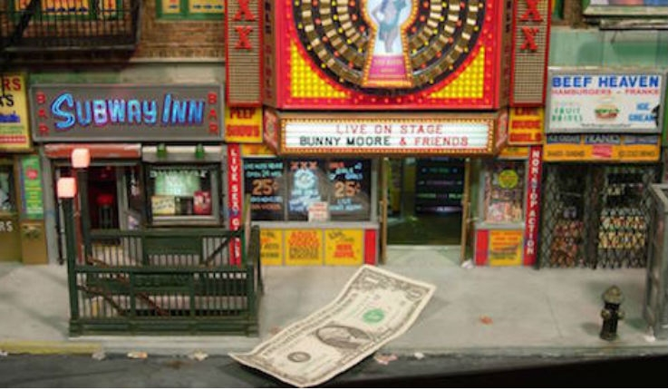 Hyper-detailed miniature versions of New York's seedy streets, subways and strip clubs