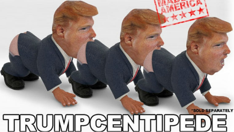 There's a Donald Trump pencil holder that can also be turned into a Trump 'human centipede'