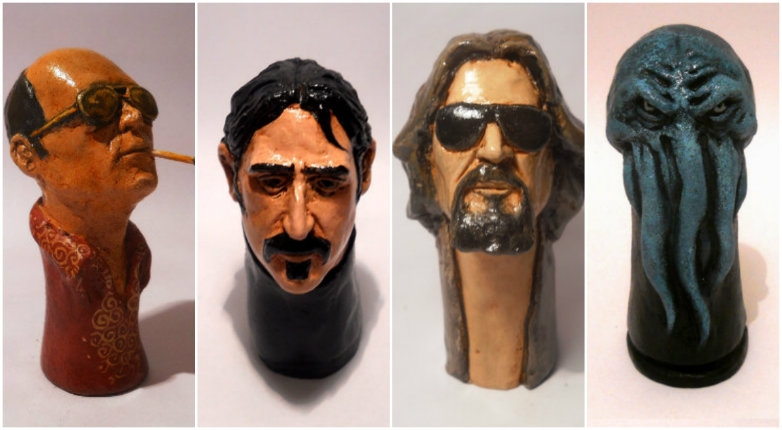 Ceramic pipes of Frank Zappa, Hunter S. Thompson, Cthulhu, The Dude and many more!