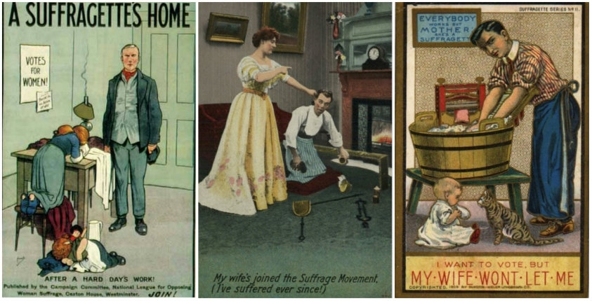 Absurd propaganda postcards warning men about the dangers of women's rights, early 1900s
