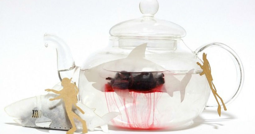 Shark-shaped tea bags that release gruesome bloody red tea