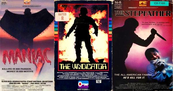 Killer silhouettes of 80s VHS horror movie box art