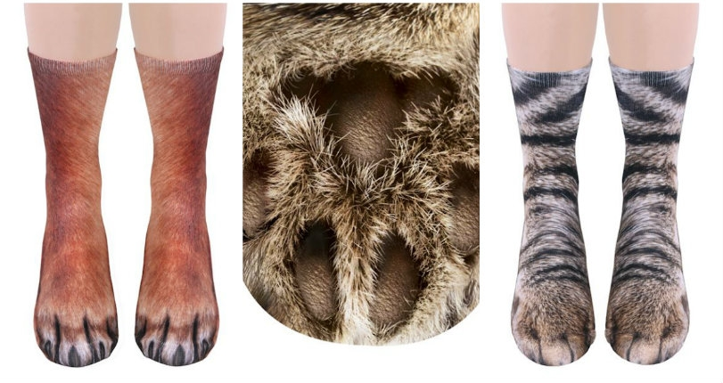 Socks that make your feet look like you have realistic animal paws