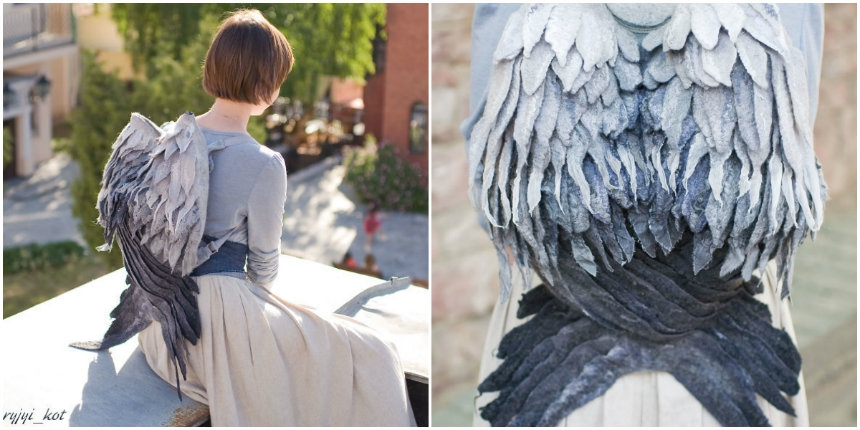 Felted angel wing backpack makes a perfect 'Weeping Angel' Halloween costume