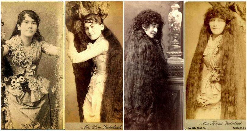 The bizarre story of the 'Seven Sutherland Sisters' girl group & their 37-feet of hair