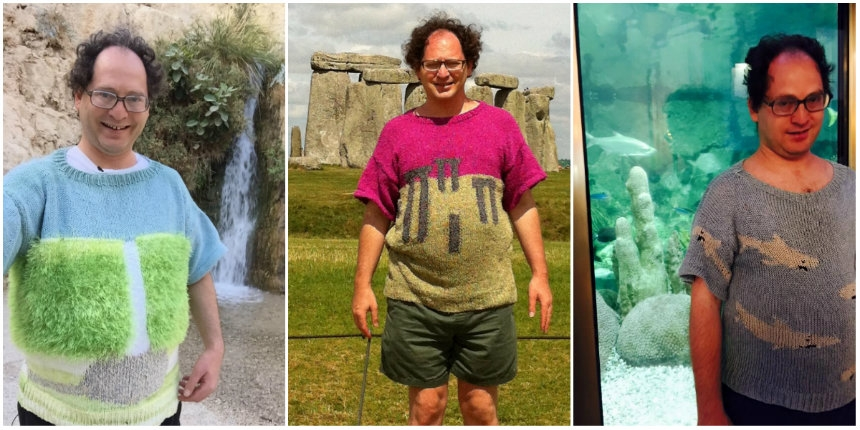 Man makes sweaters of places and takes photos of himself wearing the sweaters at those places