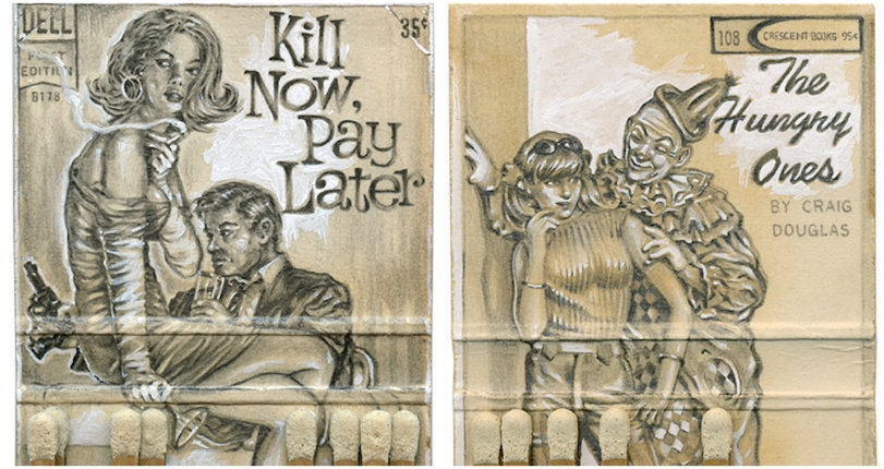 Pulp friction: Vintage matchbooks transformed into tiny pulp novel book covers (and more)