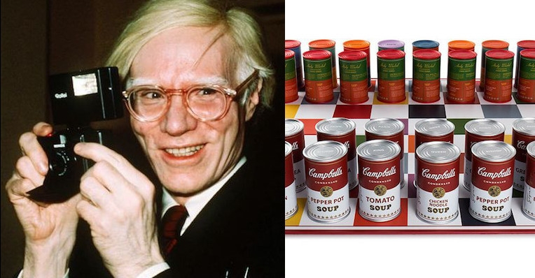 Buy your very own Andy Warhol Campbell's Soup can chess set