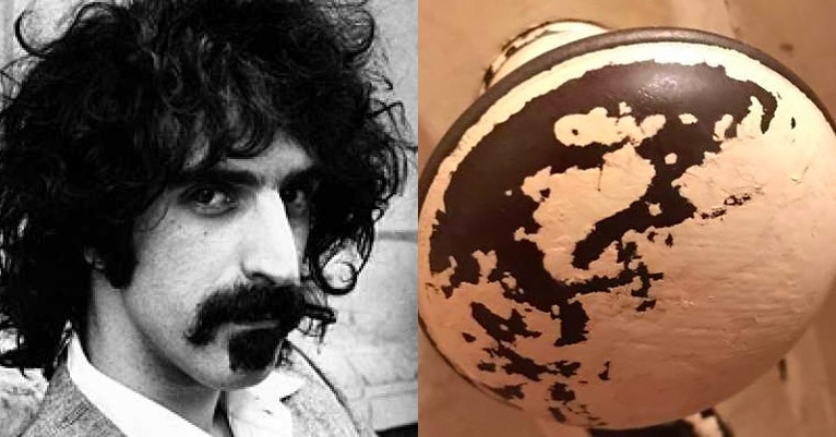HE IS RISEN! The face of Frank Zappa has miraculously appeared on a doorknob