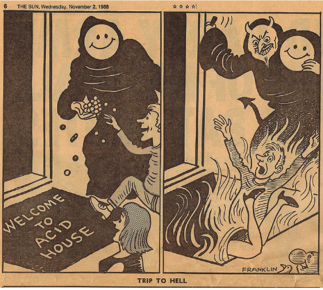 Anti-Acid House propaganda from British tabloids, late 80s