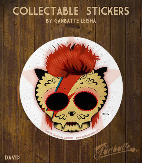Aladdin Sane cat sticker by Ganbatte