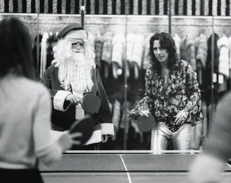 Alice Cooper playing Ping-Pong with Santa