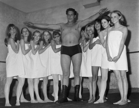 André the Giant at a Paris fashion show, 1966 (age 20)
