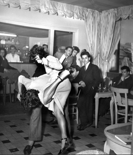 A young Parisian couple dancing at Au Saint Yves, Paris, 1948