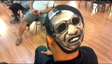 Clip art: Barber transforms hair into amazing portraits