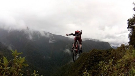 Base-jumper on the Death Road in Bolivia