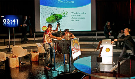 Shell Oil gets more than they bargained for when slick pranksters invade their 'Science Slam'