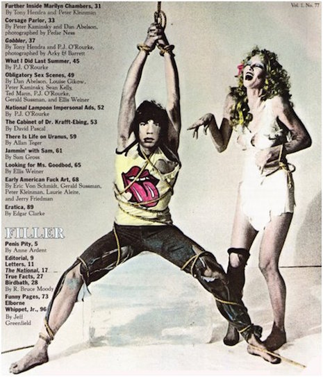 Mick Jagger and Anita Russell in a promo for Black and Blue from National Lampoon, 1976