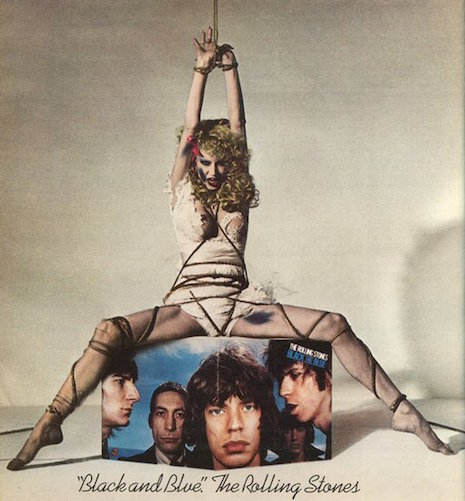The bondage-themed print ad for The Rolling Stones record, Black and Blue, 1976