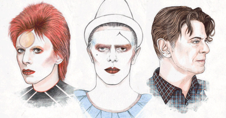 All the faces of David Bowie in one animated gif