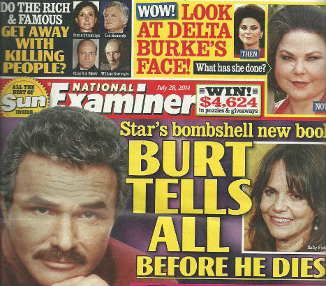 William Burroughs on cover of National Examiner tabloid along with Burt Reynolds, Delta Burke