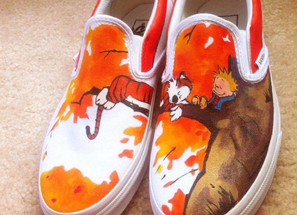 Handpainted Calvin and Hobbes Vans shoes