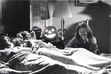 Director John Carpenter with P.J. Soles and John Michael Graham on the set of Halloween, 1978