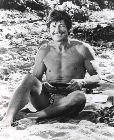 Charles Bronson at the beach, 1974
