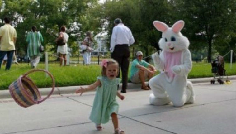 Children scared shitless of the Easter Bunny