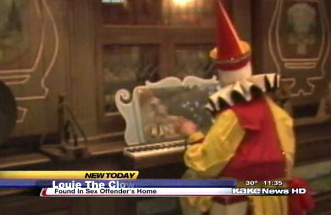 Creepy organ-playing clown found in sex offender's home