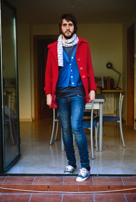 man in gf's jeans