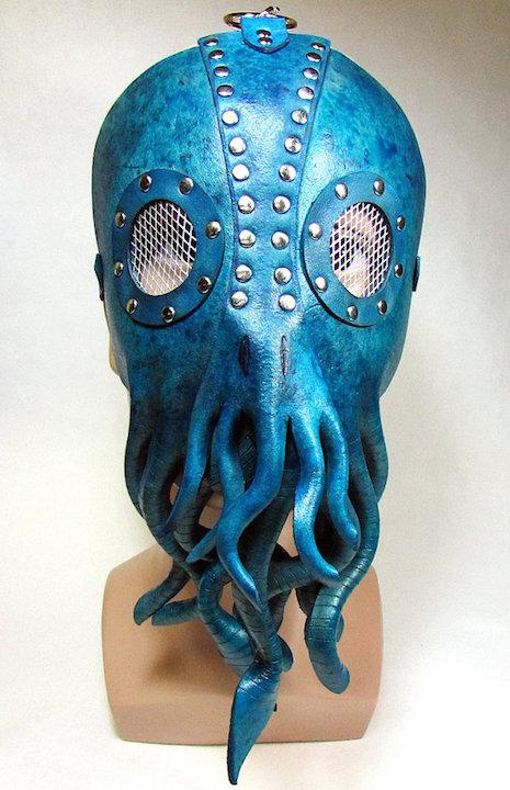 Blue leather Cthulhu mask