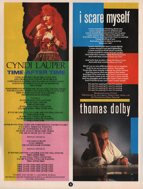 Cyndi Lauper and Thomas Dolby lyric sheets from Smash Hits March 29th, 1984