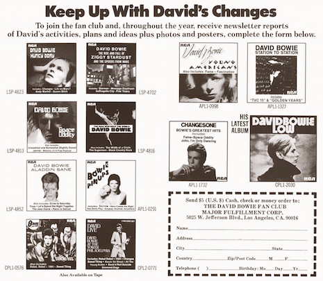 David Bowie fan club mailer
