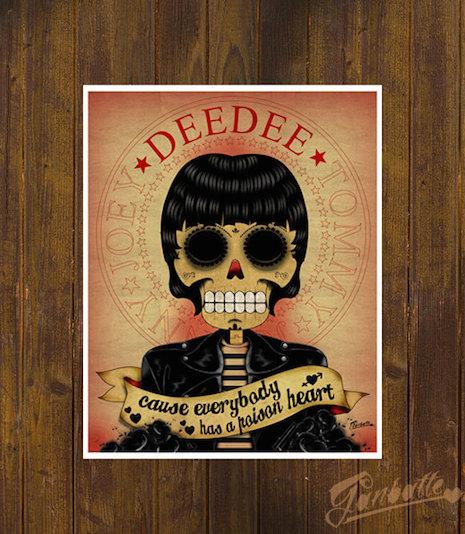 Dee Dee Ramone sugar skull by Ganbatte