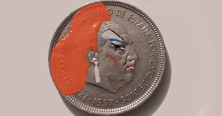 Paintings of Divine, Apu, Amy Winehouse, Princess Leia and more, using old coins as a canvas