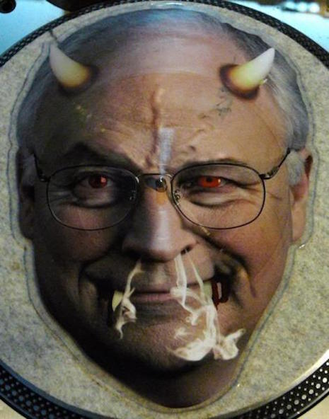 DJ Shadow Vs. Radiohead ‎– The Gloaming shaped vinyl record with image of Dick Cheney