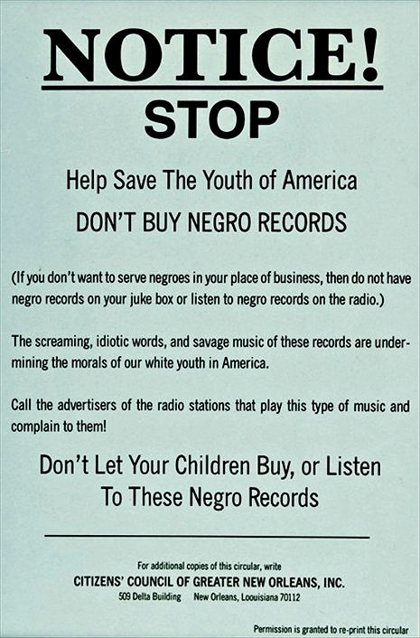 'Don't let your children buy or listen to Negro records'
